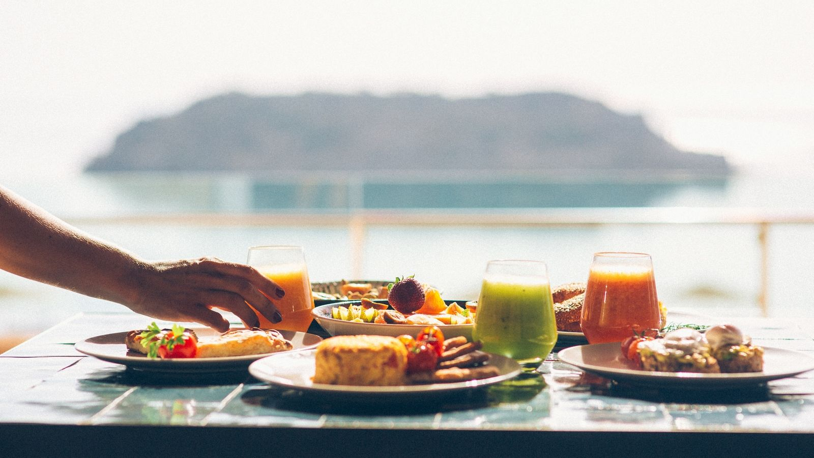 Private breakfast section at Olea Restaurant Blue Palace Resort and Spa Elounda Crete Greece