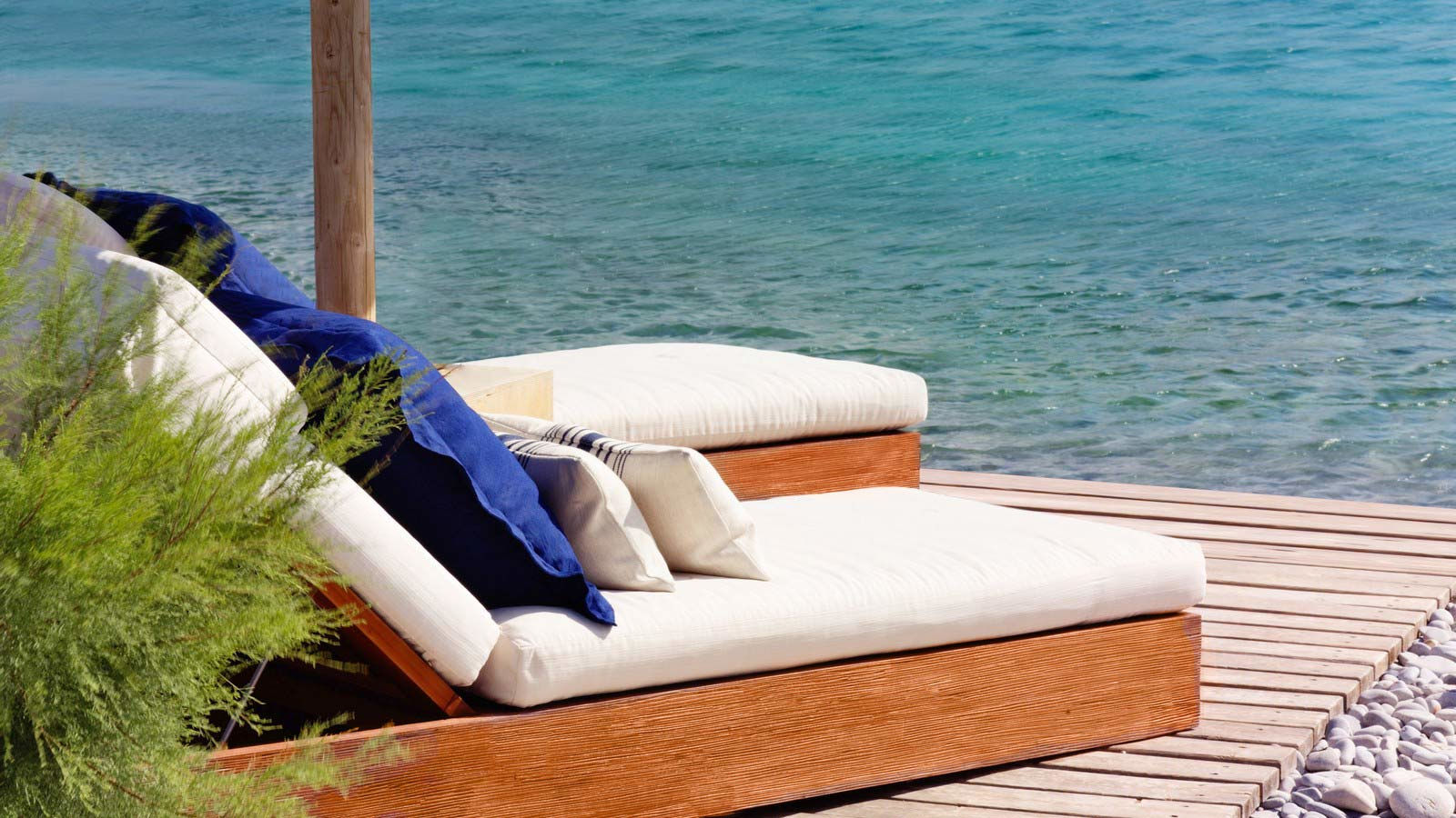 Private lounging by the beach at Blue Palace Resort and Spa elounda crete greece