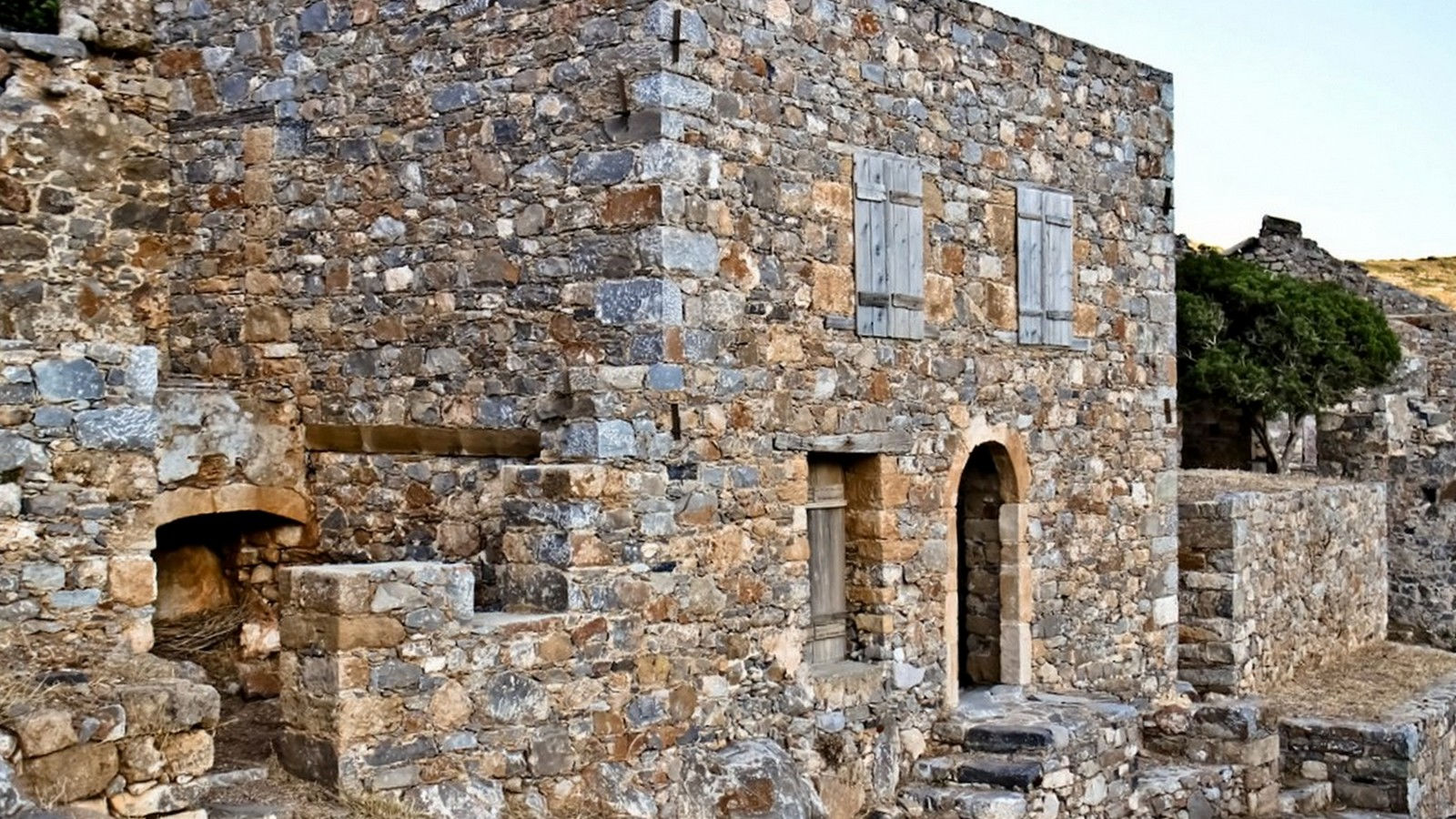 Spinalonga Ruined Houses Elounda Crete Greece